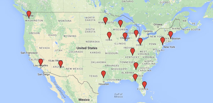 Map of the USA showing our production offices